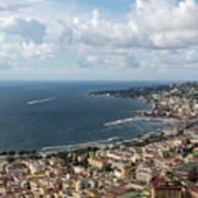 Naples Italy Aerial Perspective - Coastal Beauty Of Mergellina, Posillipo And Marechiaro Art Print