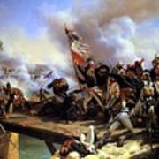 Napoleon Bonaparte Leading His Troops Over The Bridge Art Print