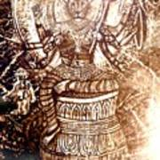 Illuminated Narasimha Dev In Sepia Art Print