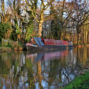 Narrow Boat On Wey Navigation - P4a16008 Art Print