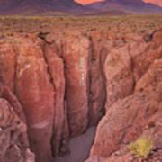 Narrow Canyon And Volcan Licancabur, Atacama Desert, Chile At Su Art Print