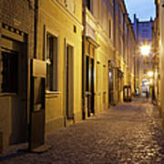 Narrow Street In Old Town Of Wroclaw In Poland Art Print