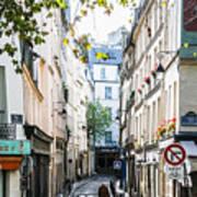 Narrow Streets Of The Latin Quarter In Paris, France Art Print