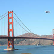 Nasa Space Shuttle's Final Hurrah Over The San Francisco Golden Gate Bridge Print by Wingsdomain Art and Photography
