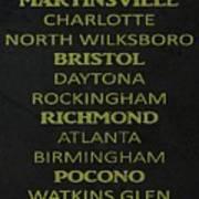 Nascar Track List Art Print
