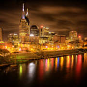 Nashville City Lights Art Print by Stuart Deacon