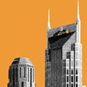 Nashville Skyline At And T Batman Building - Orange Art Print