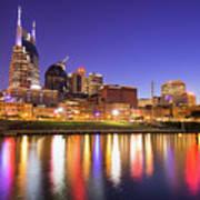Nashville Skyline At Night On The Cumberland River Art Print