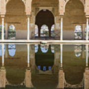 Nasrid Palace Arches Reflection At The Alhambra Granada Art Print