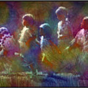 Native American - 5 Girls Dancing In The Moonlight Art Print