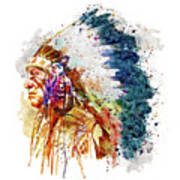 Native American Chief Side Face Art Print