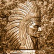 Native American Statue Copper  Art Print