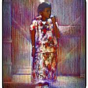 Native American - Young Girl Standing In Doorway Art Print