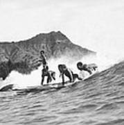 Native Hawaiians Surfing Art Print