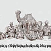 Nativity Scenne Sketch Art Print