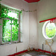 Nature Takes Over Oval Window -urbex Art Print
