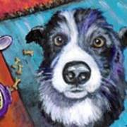 Naughty Border Collie Art Print by Dottie Dracos