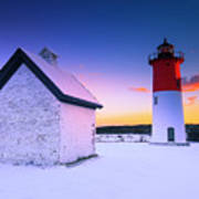 Nauset Lighthouse Sunset,  First Snow Art Print
