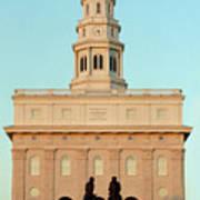 Nauvoo Lds Temple Sunset With Hyrum And Joseph Smith Bronze Statue Art Print