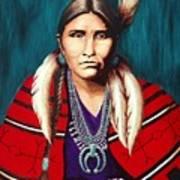 Navajo Woman In Red Art Print