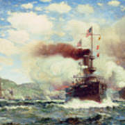 Naval Battle Explosion Art Print by James Gale Tyler