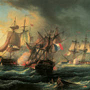 Naval Combat Between The Rights Of Man And The English Vessel Indefatigable And The Frigate Amazon Art Print