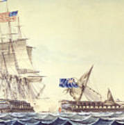 Naval Engagement Between The Uss Frigate Constitution And Hms Frigate Java Art Print