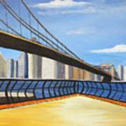Neath The Brooklyn Bridge Art Print