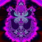 Neon Butterflies And Rainbow Fractal 137 Art Print