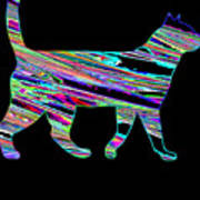 Neon Cat Cool Art Print