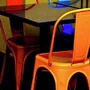 Neon Chairs 1 Art Print