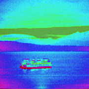 Neon Ferry Art Print