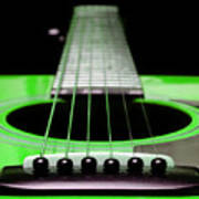 Neon Green Guitar 18 Art Print