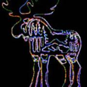 Neon Moose Art Print