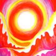 Neon Red Sky And Sea Art Print
