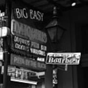 Neon Sign On Bourbon Street Corner French Quarter New Orleans Black And White Art Print
