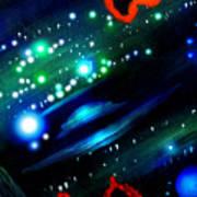 Neon Stars, Green Galaxy And Ufo Art Print