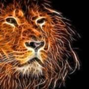 Neon Strong Proud Lion On Black Art Print