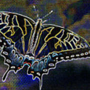 Neon Swallowtail Butterfly Art Print