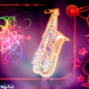 Neons Saxaphone Art Print