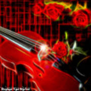 Neons Violin With Roses Art Print