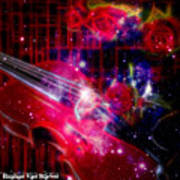 Neons Violin With Roses With Space Effect Art Print