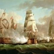 Neptune Engaging Trafalgar Print by J Francis Sartorius