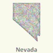 Nevada Line Art Map Art Print