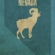 Nevada State Facts Minimalist Movie Poster Art Art Print