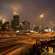 Never Sleeping Atlanta In Motion Midtown Light Trails Art Art Print