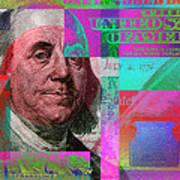 New 2009 Series Pop Art Colorized Us One Hundred Dollar Bill  No. 3 Art Print