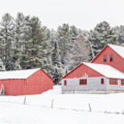 New England Farm With Red Barns In Winter Art Print