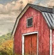 New England Red Barn Pencil Art Print