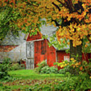 New England Rustic - New England Fall Landscape Red Barn Art Print